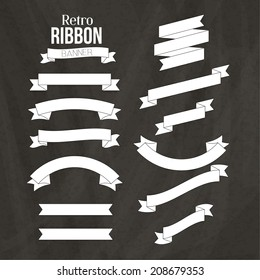 Retro White Ribbon Banners Vector Collection