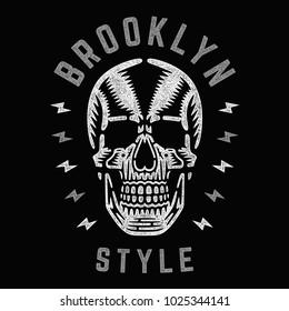 Retro white skull. Vintage print for t-shirt. Bizarre dead head. Brooklyn style.