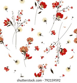 Retro Wild Flower Pattern In The Many Kind Of Florals. Botanical Motifs  Scattered Random.