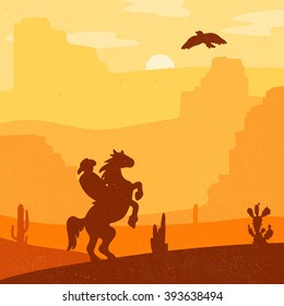 Retro Wild West Hero on galloping horse in desert. Vintage sunset in prairie with cowboy, cacti and eagle in sky. Grunge old texture. Natural Landscape for print, poster, illustration, sticker. Vector