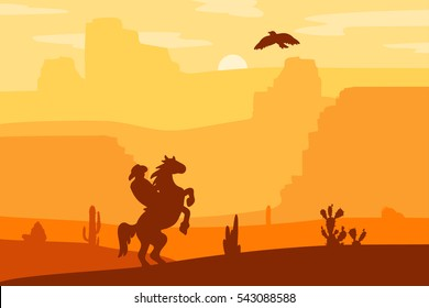 Retro Wild West Hero on galloping horse in desert. Vintage sunset in prairie with cowboy, cacti and eagle in sky. Western Day. Natural Landscape for print, poster, illustration, sticker. Vector