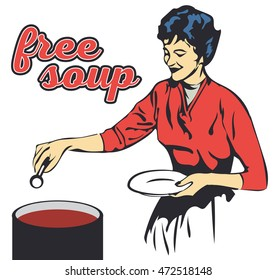 Retro woman cooking vector picture