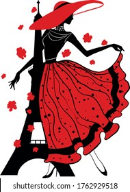 Retro woman in hat red and black silhouette with Eiffel Tower. Fashion stylish illustration