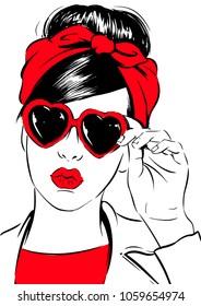 Retro woman in heart sunglasses
