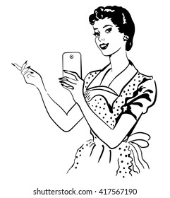 Retro woman makes selfie with her phone