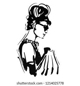 retro woman portrait sketch. graphic black and white. little black dress