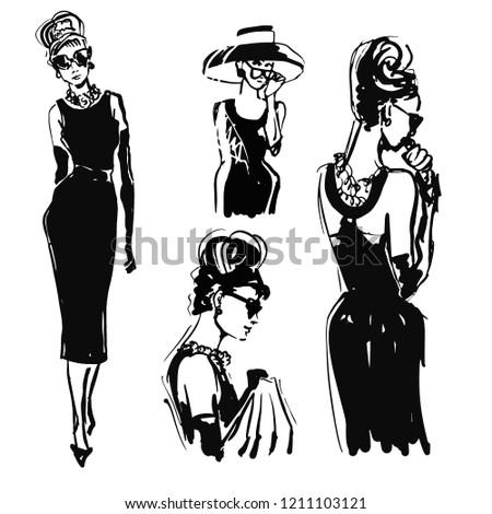 retro woman portrait sketch