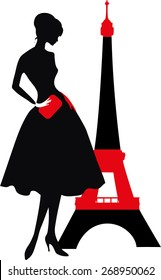 Retro woman red and black silhouette with Eiffel Tower