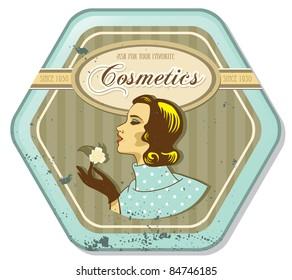 retro woman vintage cosmetics tin label