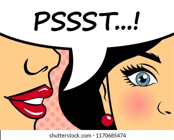 Retro woman whispering gossip to the friend. Pop art style female character telling secret with speech bubble. Flat vector illustration