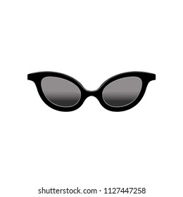 Retro women's cat eye sunglasses with black lenses and plastic frame. Fashion accessory. Flat vector element for mobile app