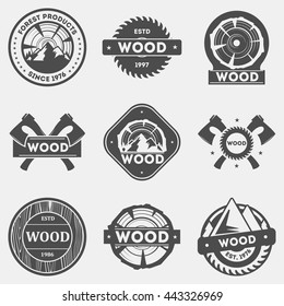 Retro wood logo, signs and badges set, vector illustration. Sawmill labels, stamps and design elements collection.