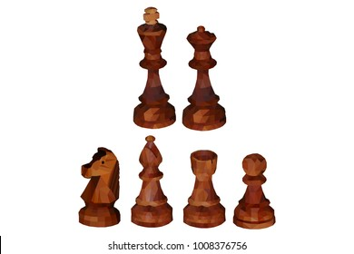 Retro wooden chess. Low poly design. Polygonal illustration vector eps 10