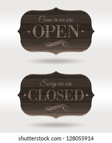 Retro wooden signs - Open and Closed