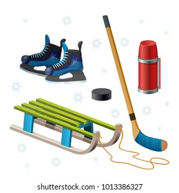 Retro wooden sled, stick, puck, hockey skates, thermos. Children sledding isolated on white. Winter outdoor games and sport for kids.