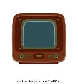 Retro wooden TV vector flat illustration design isolated on white