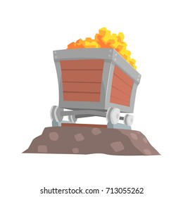 Retro wooden wagon with gold ore, mining industry concept cartoon vector Illustration