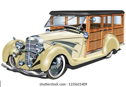 Retro Woody Car