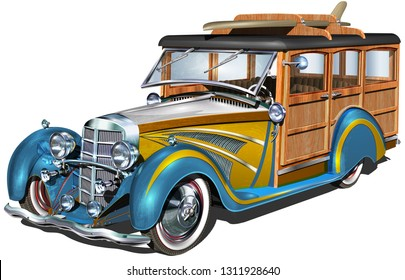 Retro Woody Car with surfboards.