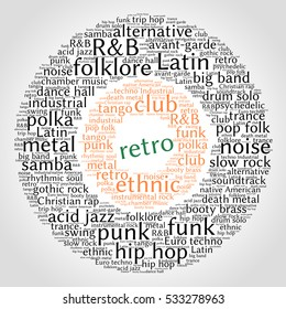 Retro. Word cloud, circles, gradient grey background. Musical styles.