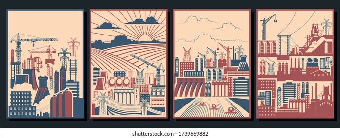 Retro Working Propaganda Posters Stylization, Industry Background, Factory Pipes, Construction Cranes, Buildings, Power Lines, Fields, Combine Harvesters