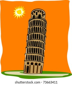 Retro World Wonder Leaning Tower of Pisa in Italy Vector Illustration