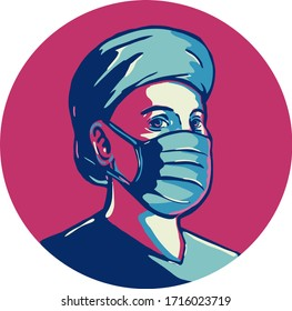 Retro WPA illustration of a nurse or essential worker wearing surgical mask set inside circle  done in federal art project style.
