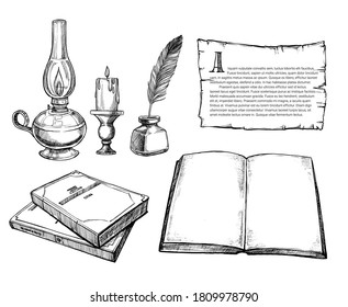 Retro writing set. Isolated flat old writing accessories sketch collection. Retro ink, antique feather pen, quill, inkwell, paper with text, book, candle, kerosene lamp. Literature vector illustration