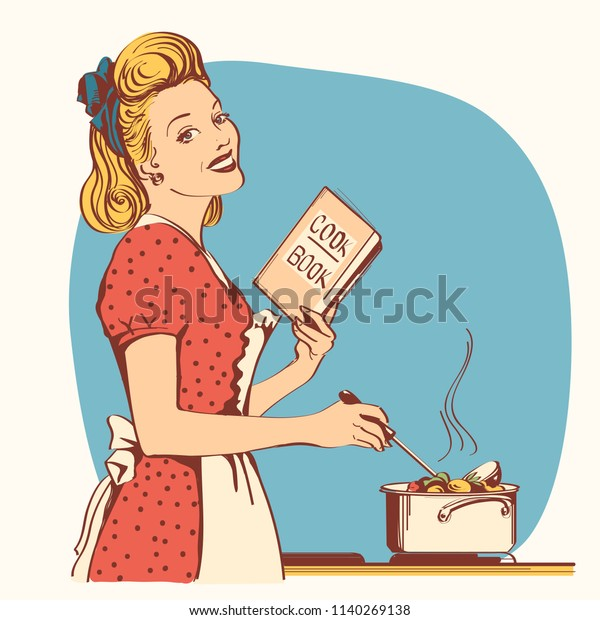 Retro young woman in red old fashioned dress cooking soup in her kitchen room.Reto style illustration