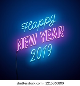 Retro_New year 2019 neon sign. Vector background. lights1