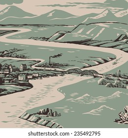 Retro-colored hand-drawn aerial view various landscape vector illustration with mountains, rivers, forest and town