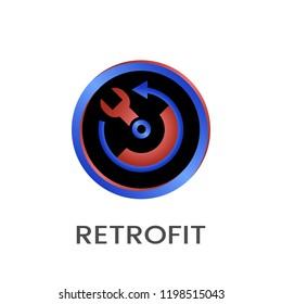 Retrofit round vector icon with gradient.