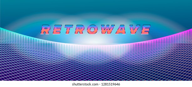 Retrofuturistic bright vivid neon background inspirated by 1980s-1980s computer games graphics. Logotype or music cover/ poster template. Ultraviolet colors: purple, electric pink, blue, green.