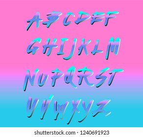 Retrofuturistic holographic alphabet font inpirated by 1980's-1990's aesthetics. Vaporwave/ synthwave style typeface in plastic pink color for dance party event, club invitation.