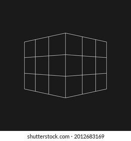 Retrofuturistic perspective mesh cube. Digital cyber retro design element. Cube in cyberpunk 80s style. Perspective geometry for poster, cover, merch in retrowave style. Vector illustration.