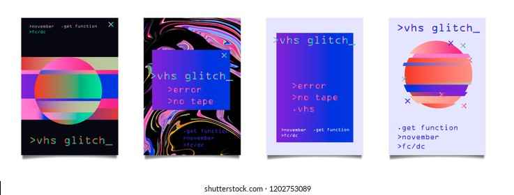Retrofuturistic set of posters with holographic flickering glitched elements (computer interface window, circle). Vaporwave/ synthwave style.