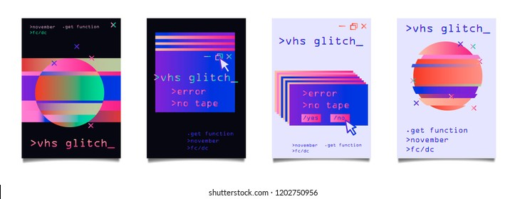 Retrofuturistic set of posters with holographic glitched elements (computer interface window, circle). Vaporwave/ synthwave/ retrowave style.