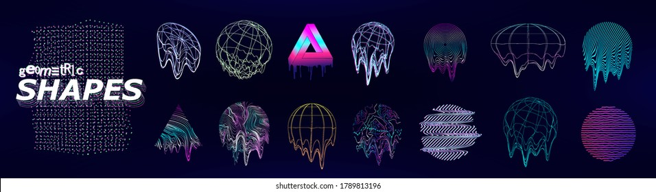 Retrofuturistic universal trendy shapes with glitch and defect effects. Trendy cyberpunk elements. Vaporwave abstract liquid shapes for flyers, posters, covers, t-shirt, merch. Vector memphis