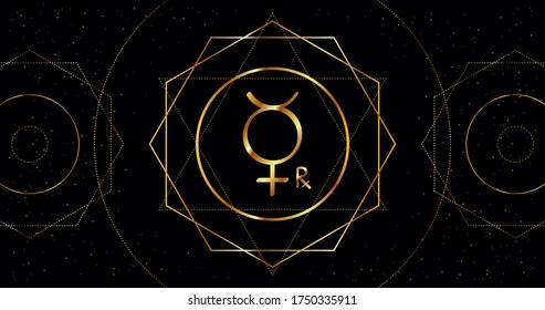 Retrograde Mercury astrological sign of the planet. Astrological sign of golden color on a black background with geometric ornament.