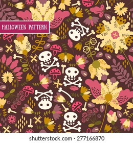 Retro.Seamless pattern voodoo cartoon with  skull and flowers .