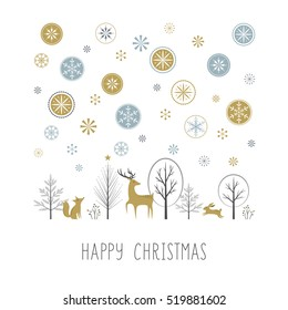 Retro-style Christmas greeting card with forest wildlife scene and decorative snowflakes.