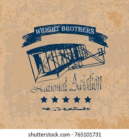 A retro-style label with the Wright brothers airplane on a brown vintage background