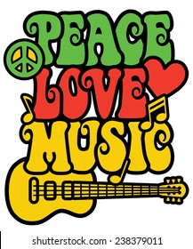 Retro-styled text design with guitar, peace symbol, heart and musical notes in Rasta colors.
