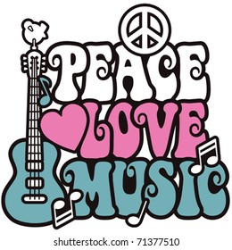 Retro-styled text design of a guitar, peace symbol and dove with the words Peace, Love and Music. Type style is my own design.