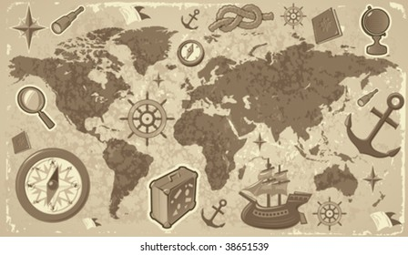 Retro-styled world map with travel and nautical icons. Vector illustration.