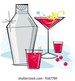 Retro-stylized cocktail spot illustration: Cosmopolitan with a lemon twist