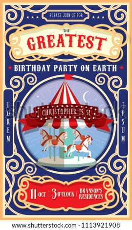 Retro Vintage Circus Carnival Carousel Birthday Party Invitation Card Template Vector Illustration