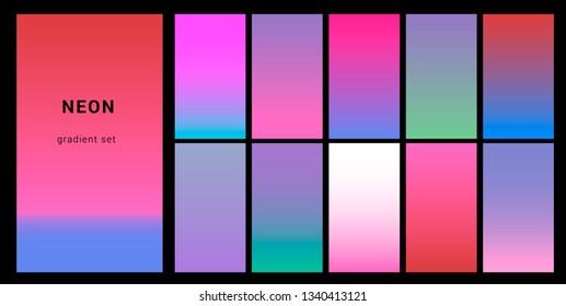 Retrowave duotone neon gradient. Futuristic style swatches for design.