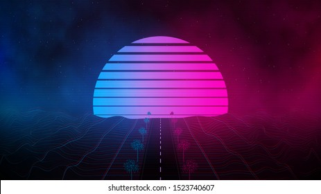 Retrowave laser grid landscape, sunset with outrun road and polygonal palms in blue pink colors with glowings and fog. Eps 10
