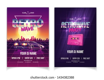Retrowave party, electronic music of 80s, DJ performance in nightclub cartoon vector ad poster, promo flyer pages template. Tape cassette, futuristic sport car on city sunset background illustration